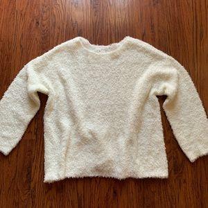 Lou & Grey White Fuzzy Sweater XL